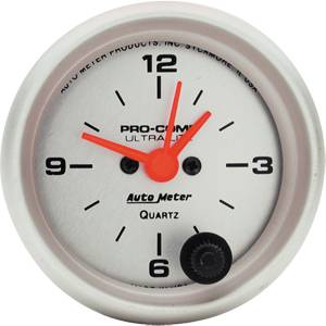 "2-1/16"" Gauges - Auto Meter Ultra Lite Series - Autometer - Auto Meter Ultra Lite Series, Clock (Short Sweep Electric)"