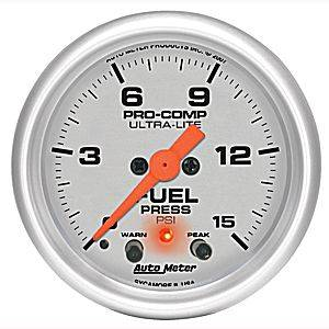 "2-1/16"" Gauges - Auto Meter Ultra Lite Series - Autometer - Auto Meter Ultra Lite Series, Fuel Pressure 0-15psi (Full Sweep Electric)w/ warning"
