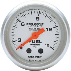 "2-1/16"" Gauges - Auto Meter Ultra Lite Series - Autometer - Auto Meter Ultra Lite Series, Fuel Pressure 0-15psi (Mechanical)"