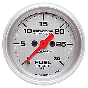 "2-1/16"" Gauges - Auto Meter Ultra Lite Series - Autometer - Auto Meter Ultra Lite Series, Fuel Pressure 0-30psi (Full Sweep Electric)"