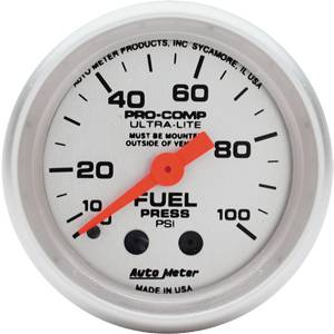 "2-1/16"" Gauges - Auto Meter Ultra Lite Series - Autometer - Auto Meter Ultra Lite Series, Fuel Pressure 0-100psi (Mechanical)"