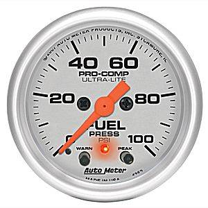 "2-1/16"" Gauges - Auto Meter Ultra Lite Series - Autometer - Auto Meter Ultra Lite Series, Fuel Pressure 0-100psi (Full Sweep Electric) w/ warning"