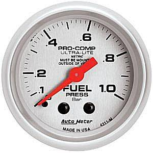 "2-1/16"" Gauges - Auto Meter Ultra Lite Series - Autometer - Auto Meter Ultra Lite Series, Fuel Pressure 0-1.0 BAR (Mechanical)"