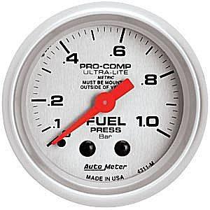 "2-1/16"" Gauges - Auto Meter Ultra Lite Series - Autometer - Auto Meter Ultra Lite Series, Fuel Pressure 0-1.0 BAR (Mechanical)"