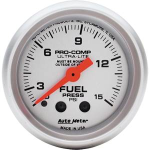 "2-1/16"" Gauges - Auto Meter Ultra Lite Series - Autometer - Auto Meter Ultra Lite Series, Fuel Pressure w/ Isolator 0-15psi (Mechanical)"