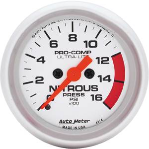 "2-1/16"" Gauges - Auto Meter Ultra Lite Series - Autometer - Auto Meter Ultra Lite Series, Nitrous Pressure 0-1600psi (Full Sweep Electric)"