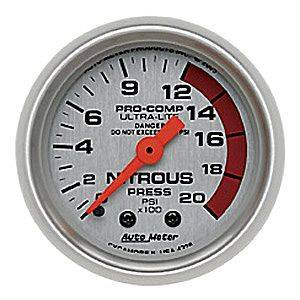 "2-1/16"" Gauges - Auto Meter Ultra Lite Series - Autometer - Auto Meter Ultra Lite Series, Nitrous Pressure 0-2000psi (Mechanical)"