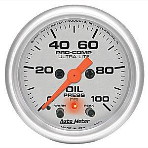 "2-1/16"" Gauges - Auto Meter Ultra Lite Series - Autometer - Auto Meter Ultra Lite Series, Oil Pressure 0-100psi (Full Sweep Electric) w/ warning"