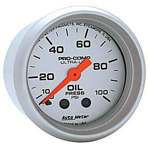 "2-1/16"" Gauges - Auto Meter Ultra Lite Series - Autometer - Auto Meter Ultra Lite Series, Oil Pressure 0-100psi (Mechanical)"