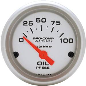 "2-1/16"" Gauges - Auto Meter Ultra Lite Series - Autometer - Auto Meter Ultra Lite Series, Oil Pressure 0-100psi (Short Sweep Electric)"