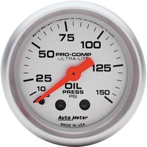 "2-1/16"" Gauges - Auto Meter Ultra Lite Series - Autometer - Auto Meter Ultra Lite Series, Oil Pressure 0-150psi (Mechanical)"