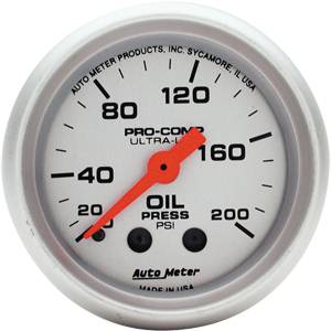 "2-1/16"" Gauges - Auto Meter Ultra Lite Series - Autometer - Auto Meter Ultra Lite Series, Oil Pressure 0-200psi (Mechanical)"