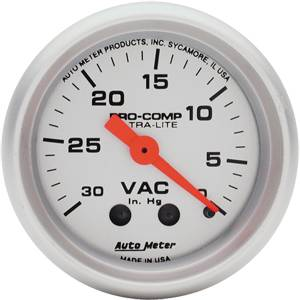 "2-1/16"" Gauges - Auto Meter Ultra Lite Series - Autometer - Auto Meter Ultra Lite Series, Vacuum 30"" HG (Mechanical)"