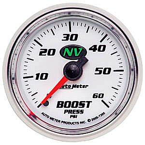 "2-1/16"" Gauges - Auto Meter NV Series - Autometer - Auto Meter NV Series, Boost Pressure 0-60psi (Mechanical)"