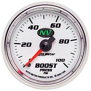 "2-1/16"" Gauges - Auto Meter NV Series - Autometer - Auto Meter NV Series, Boost Pressure 0-100psi (Mechanical)"