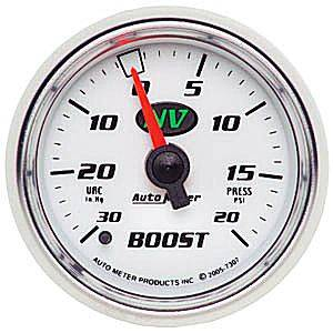"2-1/16"" Gauges - Auto Meter NV Series - Autometer - Auto Meter NV Series, Boost/Vacuum Pressure 30"" HG/20psi (Mechanical)"