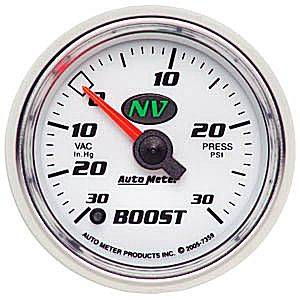 "2-1/16"" Gauges - Auto Meter NV Series - Autometer - Auto Meter NV Series, Boost/Vacuum Pressure 30"" HG/30psi (Full Sweep Electric)"