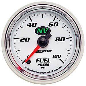 "2-1/16"" Gauges - Auto Meter NV Series - Autometer - Auto Meter NV Series, Fuel Pressure 0-100psi (Full Sweep Electric)"