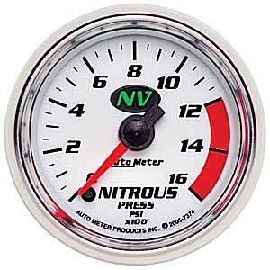 "2-1/16"" Gauges - Auto Meter NV Series - Autometer - Auto Meter NV Series, Nitrous Pressure 0-1600psi (Full Sweep Electric)"