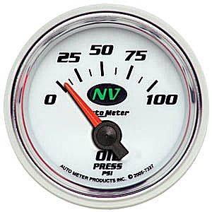 Auto Meter NV Series, Oil Pressure 0-100psi (Short Sweep Electric)