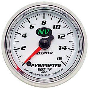 "2-1/16"" Gauges - Auto Meter NV Series - Autometer - Auto Meter NV Series, Pyrometer Kit 0*-1600*F (Full Sweep Electric)"