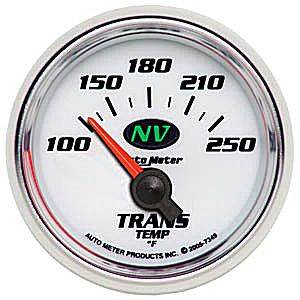 "2-1/16"" Gauges - Auto Meter NV Series - Autometer - Auto Meter NV Series, Transmission Temperature 100*-250*F (Short Sweep Electric)"
