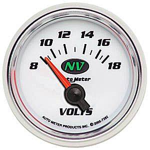 "2-1/16"" Gauges - Auto Meter NV Series - Autometer - Auto Meter NV Series, Voltmeter 8-18Volts (Short Sweep Electric)"