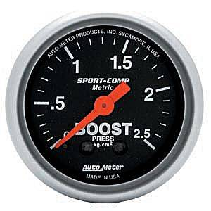"2-1/16"" Gauges - Auto Meter Sport-Comp Series - Autometer - Auto Meter Sport-Comp Series, Boost Pressure 0-2.5 Kg/Cm2 (Mechanical)"