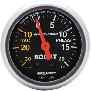 "2-1/16"" Gauges - Auto Meter Sport-Comp Series - Autometer - Auto Meter Sport-Comp Series, Boost/Vacuum Pressure 30"" HG/20psi (Mechanical)"