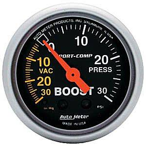 "2-1/16"" Gauges - Auto Meter Sport-Comp Series - Autometer - Auto Meter Sport-Comp Series, Boost/Vacuum Pressure 30"" HG/30psi (Mechanical)"