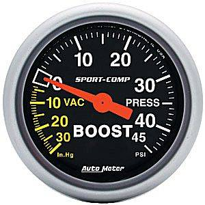 "2-1/16"" Gauges - Auto Meter Sport-Comp Series - Autometer - Auto Meter Sport-Comp Series, Boost/Vacuum Pressure 30"" HG/45psi (Mechanical)"