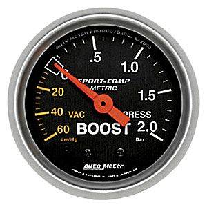 "2-1/16"" Gauges - Auto Meter Sport-Comp Series - Autometer - Auto Meter Sport-Comp Series, Boost/Vacuum Pressure 60 CM./ HG-2.0 BAR (Mechanical)"