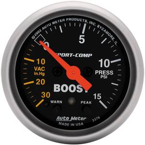 "2-1/16"" Gauges - Auto Meter Sport-Comp Series - Autometer - Auto Meter Sport-Comp Series, Boost/Vacuum Pressure 30"" HG/15psi (Full Sweep Electric) w/ Warning"