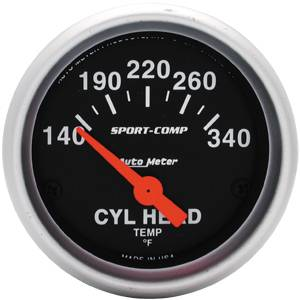 "2-1/16"" Gauges - Auto Meter Sport-Comp Series - Autometer - Auto Meter Sport-Comp Series, Clinder Head Temperature 140*-340*F (Short Sweep Electric)"