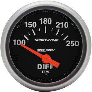 "2-1/16"" Gauges - Auto Meter Sport-Comp Series - Autometer - Auto Meter Sport-Comp Series, Differential Temperature 100*-250*F (Short Sweep Electric)"