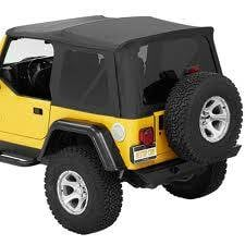 Jeep Tops & Doors - Jeep Tops - Bestop - Bestop Supertop NX, Jeep (1997-06) TJ Wrangler, w/ tinted side &  rear windows (Black Denim)