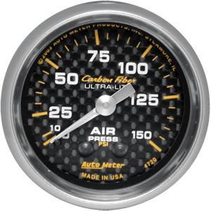Auto Meter Carbon Fiber Series, Air Pressure 0-150, (Mechanical)