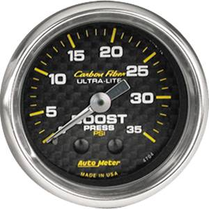 Autometer - Auto Meter Carbon Fiber Series, Boost Pressure 0-35 PSI, (Mechanical)