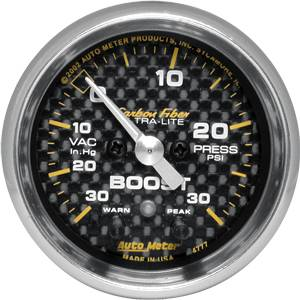 "2-1/16"" Gauges - Auto Meter Carbon Fiber Series - Autometer - Auto Meter Carbon Fiber Series, Boost/Vacuum 30"" HG/30 PSI, w/ Warning (Full Sweep Electric)"