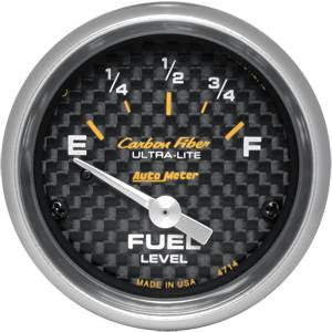 "2-1/16"" Gauges - Auto Meter Carbon Fiber Series - Autometer - Auto Meter Carbon Fiber Series, Fuel Level 0Ωs Empty /  90Ωs Full, (Short Sweep Electric)"