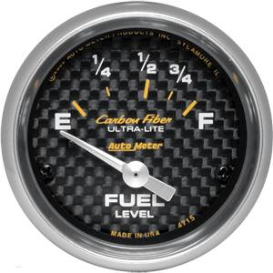 "2-1/16"" Gauges - Auto Meter Carbon Fiber Series - Autometer - Auto Meter Carbon Fiber Series, Fuel Level 73Ωs Empty / 10Ωs Full, (Short Sweep Electric)"