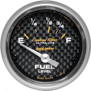 Auto Meter Carbon Fiber Series, Fuel Level 73Ωs Empty / 10Ωs Full, (Short Sweep Electric)