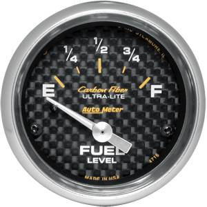 "2-1/16"" Gauges - Auto Meter Carbon Fiber Series - Autometer - Auto Meter Carbon Fiber Series, Fuel Level 240Ωs Empty / 33Ωs Full (Short Sweep Electric)"