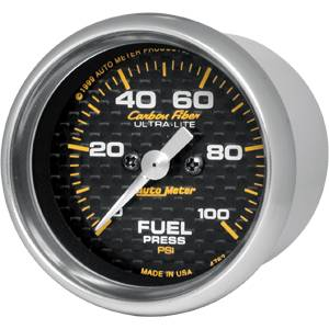 "2-1/16"" Gauges - Auto Meter Carbon Fiber Series - Autometer - Auto Meter Carbon Fiber Series, Fuel Pressure 0-100 PSI (Full Sweep Electric)"