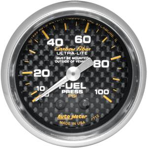 "2-1/16"" Gauges - Auto Meter Carbon Fiber Series - Autometer - Auto Meter Carbon Fiber Series, Fuel Pressure 0-100 PSI (Mechanical)"
