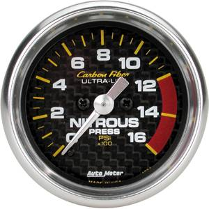 "2-1/16"" Gauges - Auto Meter Carbon Fiber Series - Autometer - Auto Meter Carbon Fiber Series, Nitrous Pressure 0-1600 PSI, (Full Sweep Electric)"