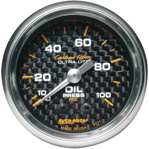 Autometer - Auto Meter Carbon Fiber Series, Oil Pressure 0-100 PSI (Mechanical)