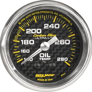"2-1/16"" Gauges - Auto Meter Carbon Fiber Series - Autometer - Auto Meter Carbon Fiber Series, Oil Temperature 140 -280 deg. F (Mechanical)"