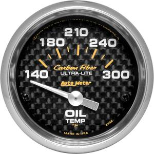 "2-1/16"" Gauges - Auto Meter Carbon Fiber Series - Autometer - Auto Meter Carbon Fiber Series, Oil Temperature 140 -300 deg. F (Short Sweep Electric)"