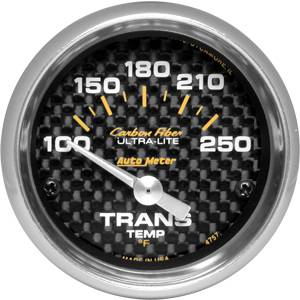 "2-1/16"" Gauges - Auto Meter Carbon Fiber Series - Autometer - Auto Meter Carbon Fiber Series, Transmission Temperature 100 -250 deg. F (Short Sweep Electric)"
